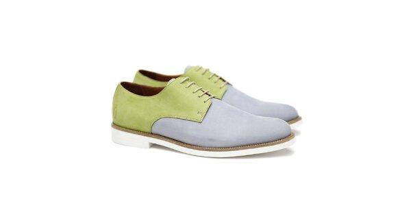 Pánské zeleno-modro-šedé polobotky Shoe the Bear