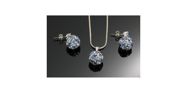 Souprava krystalových náušnic a přívěsku Swarovski modrá