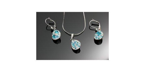 Souprava krystalových náušnic a přívěsku ve tvaru kapek Swarovski modrá