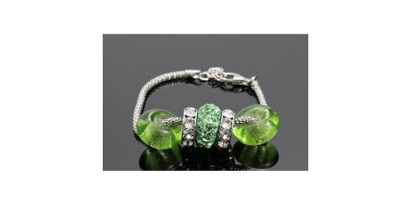 Dámský stříbrný náramek s kulatými zelenými komponenty Swarovski
