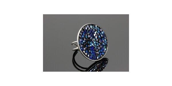 Dámský kulatý prsten Swarovski s modrými krystaly