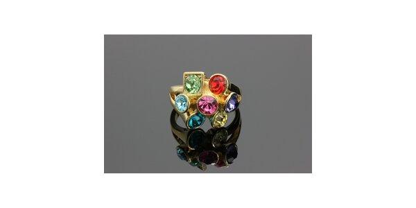 Dámský zlatý prsten Swarovski s barevnými krystaly