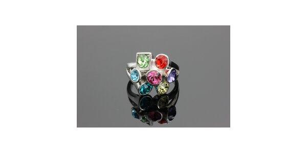 Dámský stříbrný prsten Swarovski s barevnými krystaly