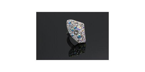 Dámský stříbrný prsten Swarovski s duhovými krystaly