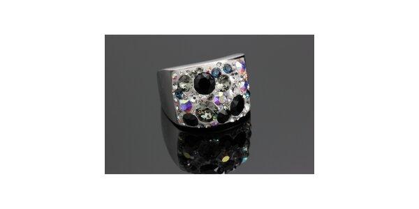 Dámský duhový prsten s černými krystaly Swarovski