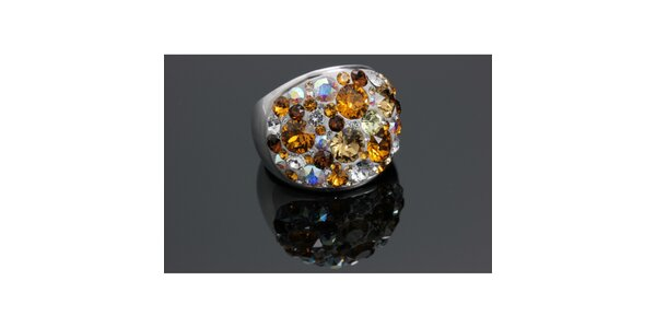 Dámský prsten Swarovski s hnědými krystaly