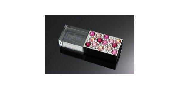 Dámské luxusní USB s růžovými krystaly Swarovski