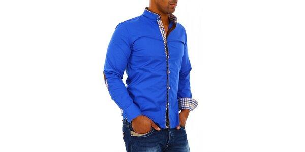 Pánská modrá košile se stojáčkem Carisma