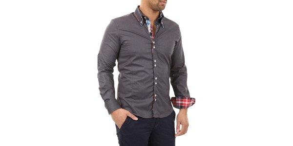 Pánská šedá košile s límečkem a modro-bílo-červenou kostkou Carisma