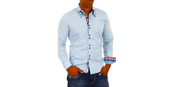Pánská světle modrá košile s kostkovanými detaily Carisma