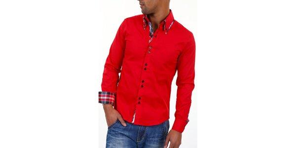 Pánská červená košile s límečkem a modro-bílo-červenou kostkou Carisma