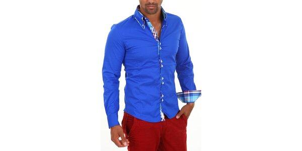 Pánská modrá košile s límečkem a modro-bílo-červenou kostkou Carisma