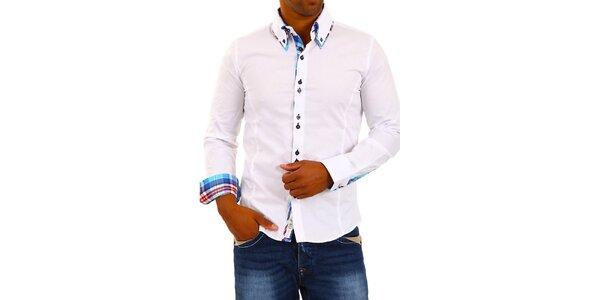 Pánská bílá košile s límečkem a modro-bílo-červenou kostkou Carisma