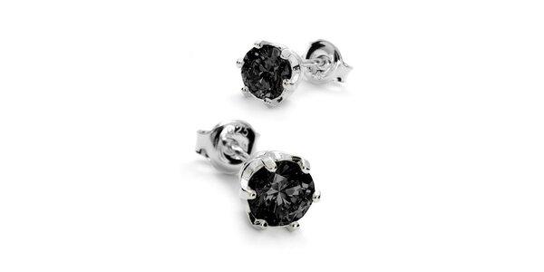 Náušnice s kamínkem 6 mm - černá