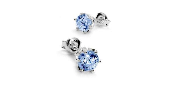 Náušnice s kamínkem 6 mm - modrá