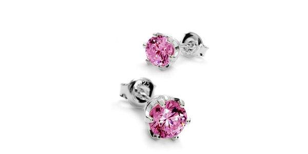 Náušnice s kamínkem 6 mm - růžová