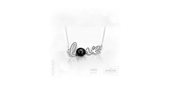 """Náhrdelník """"Love"""" s perlou ze Swarovski Elements a .925 stříbra - černá"""
