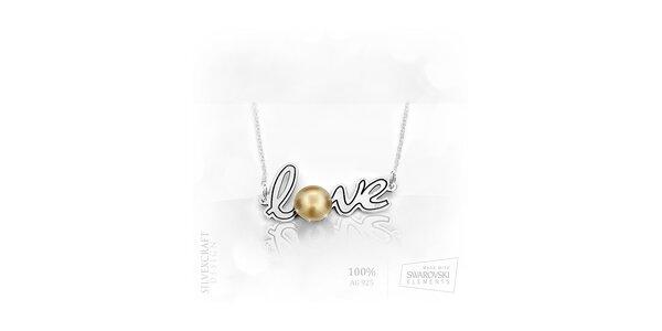 """Náhrdelník """"Love"""" s perlou ze Swarovski Elements a .925 stříbra - zlatá"""