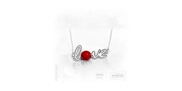"""Náhrdelník """"Love"""" s perlou ze Swarovski Elements a .925 stříbra - červená"""
