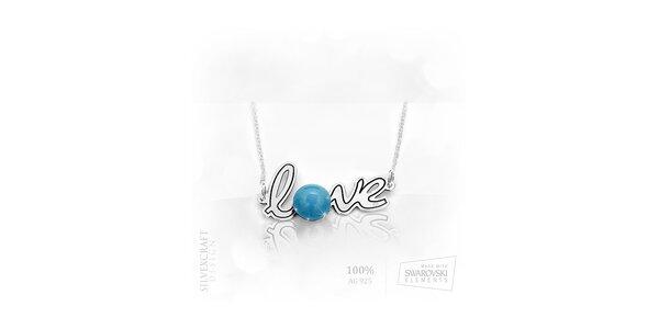 """Náhrdelník """"Love"""" s perlou ze Swarovski Elements a .925 stříbra - tyrkysová"""