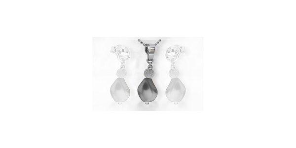 Stříbrný přívěšek s perlou SWAROVSKI včetně řetízku - černá