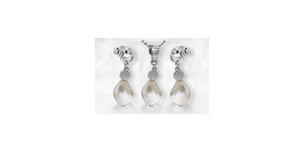 Sada stříbrného přívěšku s perlou SWAROVSKI s řetízkem a náušnicemi - bílá