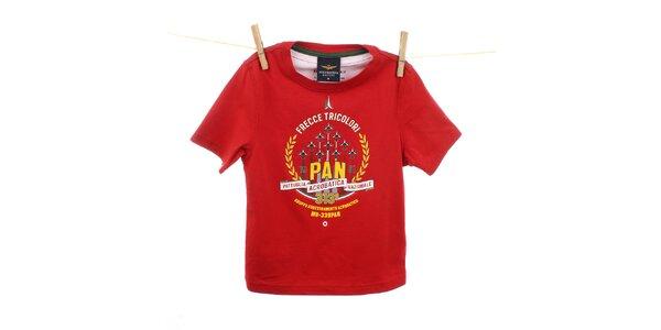 Dětské červené tričko s žluto-bílým potiskem Aeronautica Militare