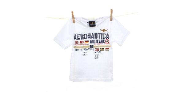 Dětské bílé tričko s výšivkami Aeronautica Militare