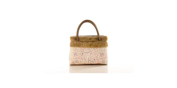 Dámská béžová kabelka Elite Goby s nápisy