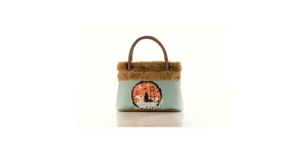 Dámská béžová kabelka Elite Goby s motivem Istanbulu