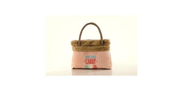 Dámská béžová kabelka Elite Goby s růžovým potiskem