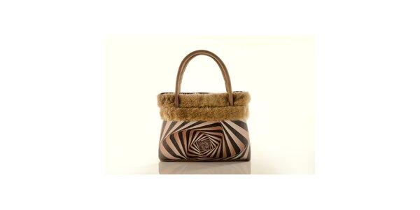 Dámská béžová kabelka Elite Goby s op-artovým motivem
