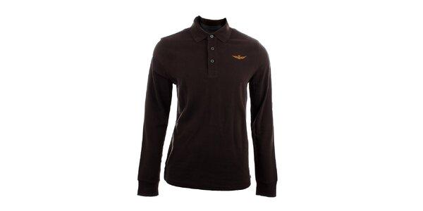 Pánské hnědé polo tričko s dlouhým rukávem Aeronautica Militare