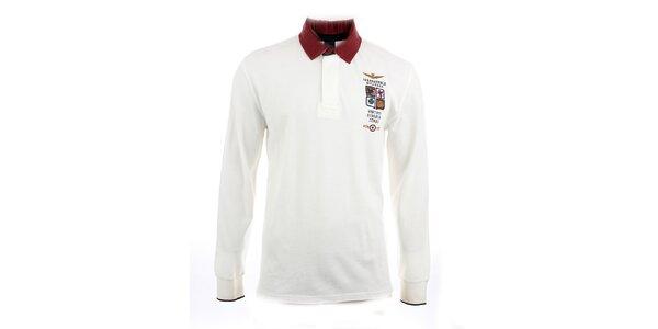 Pánské bílé polo tričko s dlouhým rukávem Aeronautica Militare