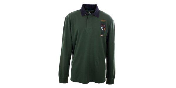 Pánské lahvově zelené polo tričko s dlouhým rukávem Aeronautica Militare