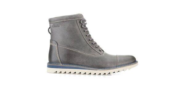 Pánské vysoké šedé šněrovací boty Clarks