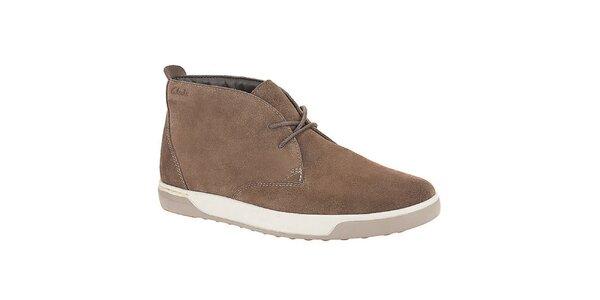 Pánské světle hnědé semišové šněrovací boty Clarks