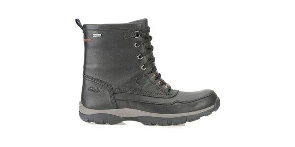 Pánské černé vysoké goretexové kožené boty Clarks