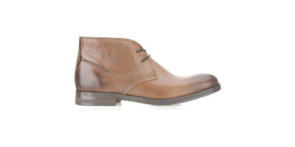 Pánské světle hnědé kožené kotníčkové boty Clarks