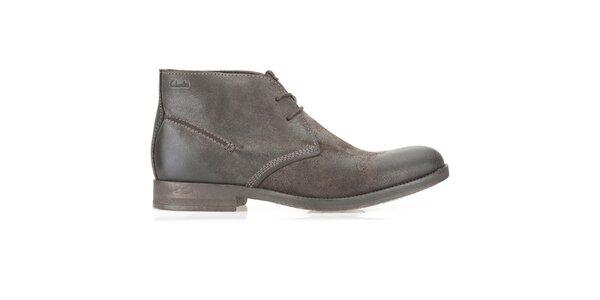 Pánské semišové kotníčkové hnědé boty Clarks