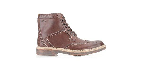 Pánské čokoládově hnědé kožené boty Clarks na zavazování