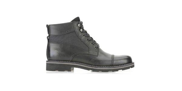 Pánské vysoké šněrovací černé kožené boty Clarks