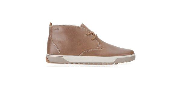Pánské světle hnědé kožené šněrovací boty Clarks
