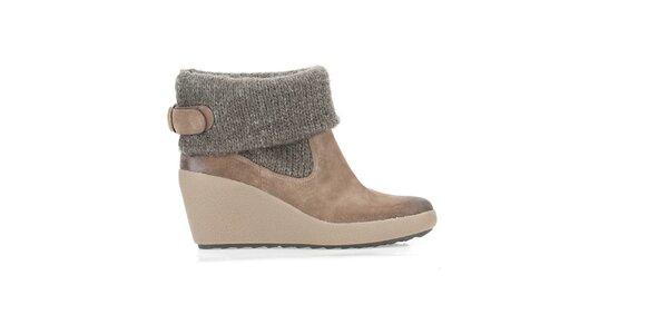 Dámské hnědé zimní boty s nápletem Clarks