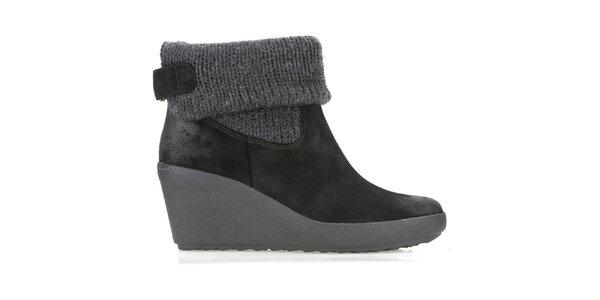 Dámské černé zimní boty s nápletem Clarks