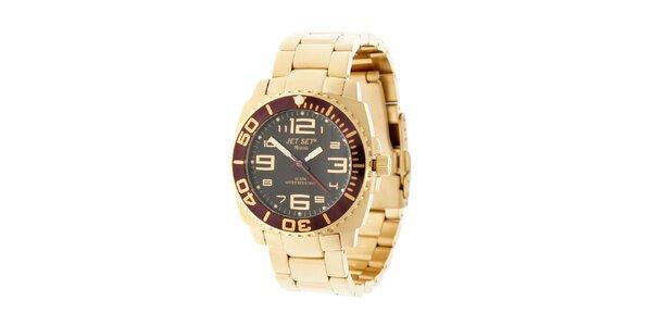 Zlaté hodinky Jet Set s černým ciferníkem