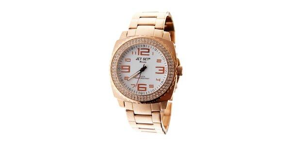 Dámské zlaté hodinky Jet Set s kamínky