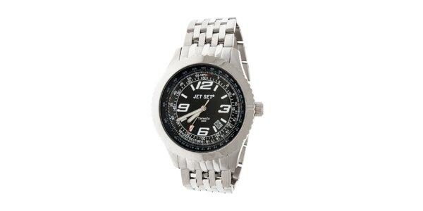 Pánské ocelové hodinky Jet Set s černým ciferníkem
