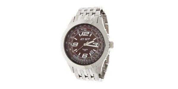 Pánské ocelové hodinky Jet Set s černo-hnědým ciferníkem