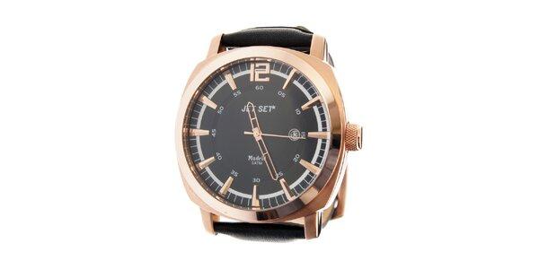 Pánské zlaté hodinky Jet Set s černým koženým řemínkem